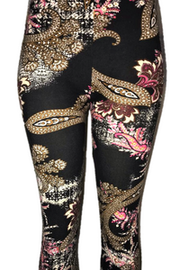Black with Red & Pink Floral Design Leggings