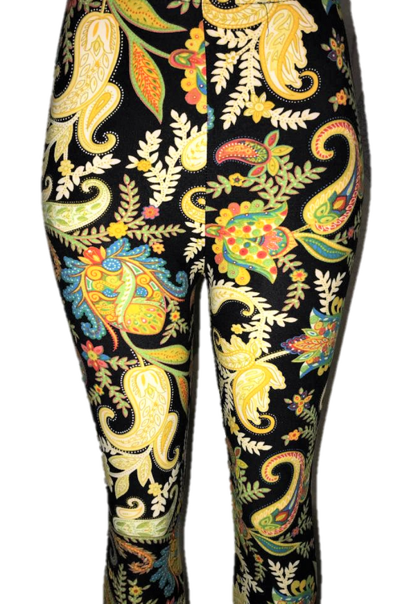 Black with Bold Paisley Leggings