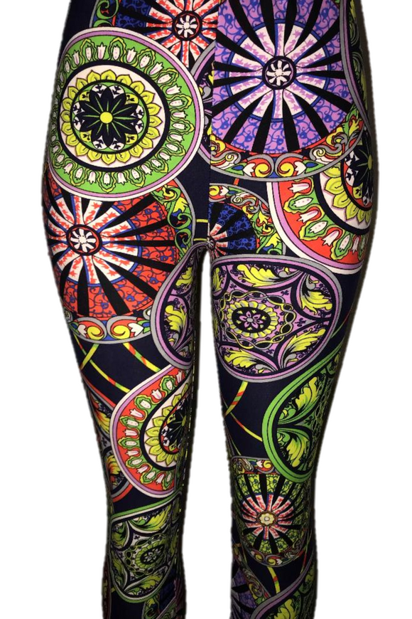 Purple, Green, & Pink Circle Leggings