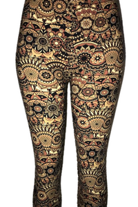 Brown Multi Geometric Print Leggings