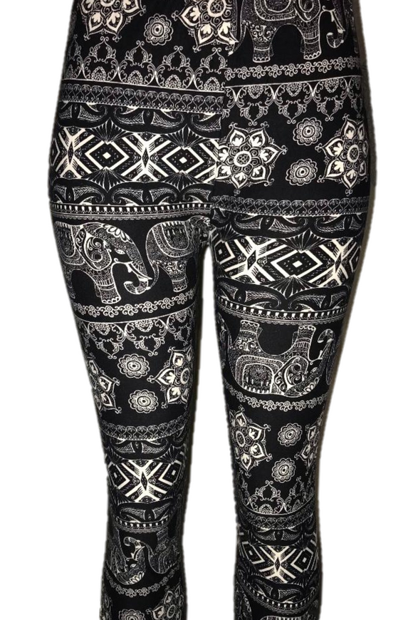 Black with White Elephant Print Leggings