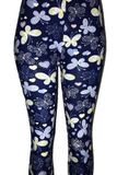 Solid Blue with Butterfly Print Leggings