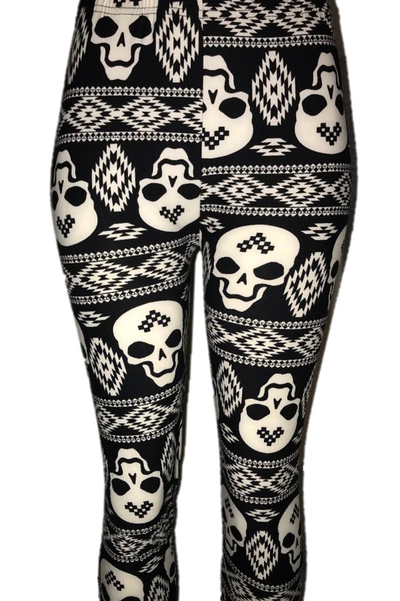 Black & White Skull Print Leggings
