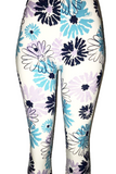 White with Blue & Purple Floral Print Leggings