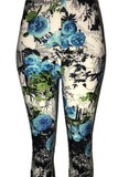 Black & White with Blue Rose Design Leggings