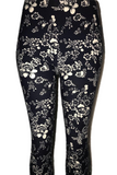 Navy with Delicate White Floral Print Leggings