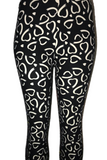 Black with White Hearts Leggings