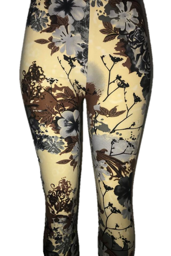 Cream with Grey Floral Print Leggings