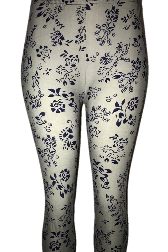 Grey with Delicate Navy Floral Print Leggings