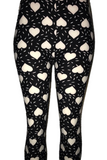 Black with Solid White Heart Print Leggings