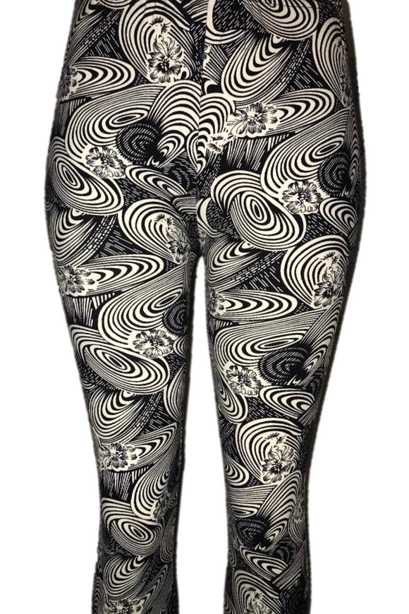 Black with White Abstract Oval Print Leggings