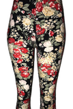 Black, White, & Red Floral Print Leggings