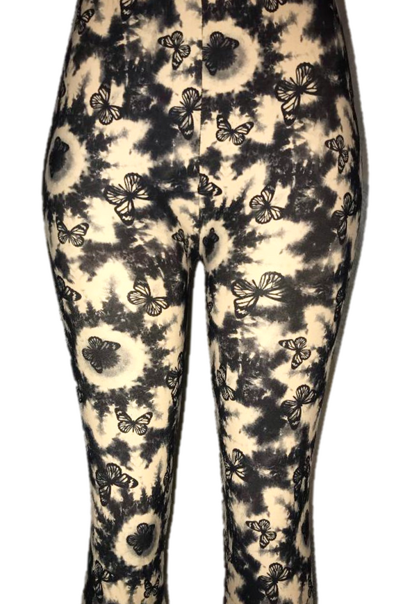 Black & Tan Tie Dye Butterfly Leggings