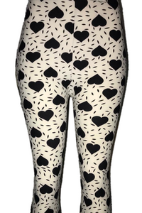 White with Solid Black Heart Print Heart Print Leggings