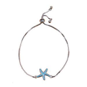 Silver Starfish Charm with Multi-Stones EZ-On & EZ-Off Bracelet - 116S