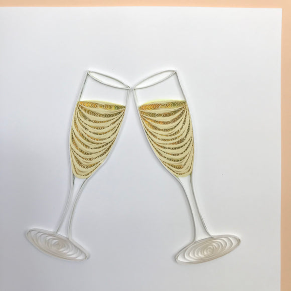 Quilled Champagne Cheers Blank Card