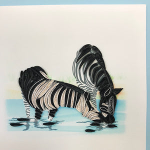 Quilled Zebras Blank Card