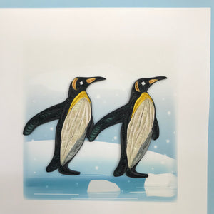 Quilled Penguins Blank Card