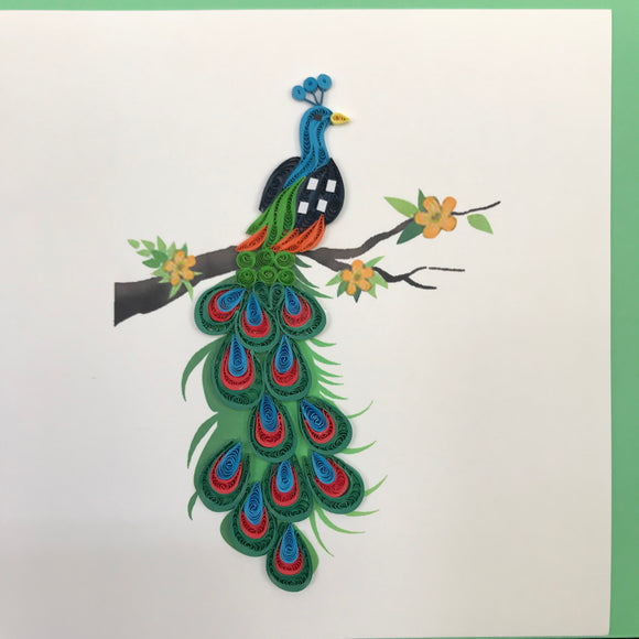 Quilled Peacock on Branch Blank Card