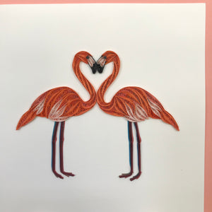 Quilled Flamingos Blank Card