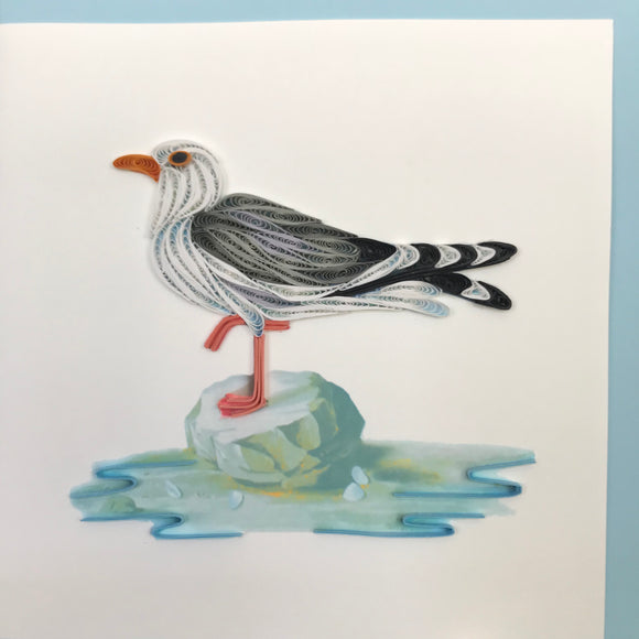 Quilled Seagull on Rock Blank Card