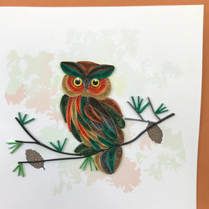 Quilled Owl on Branch Blank Card