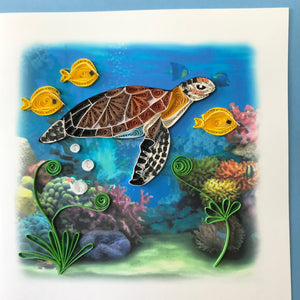 Quilled Sea Turtle and Fish Blank Card