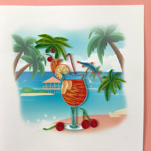 Quilled Mai Tai Beach Cocktail Blank Card