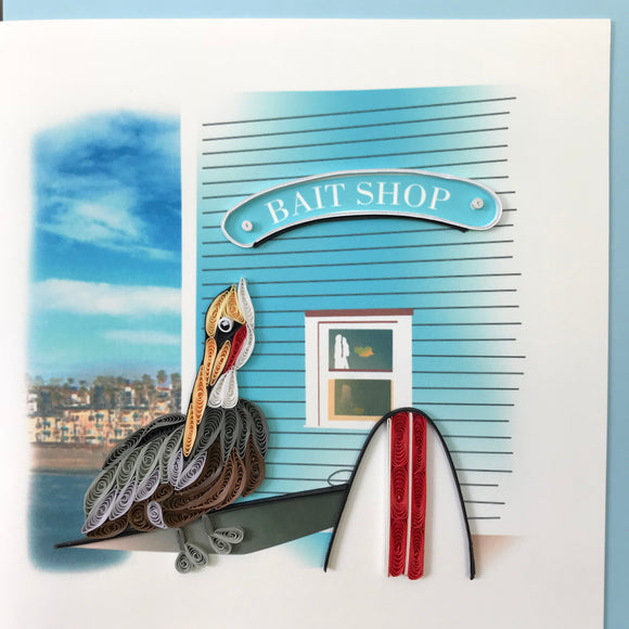 Quilled Pelican at Bait Shop Blank Card