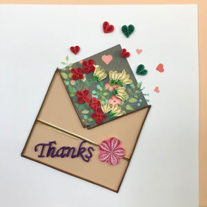 Quilled Thank You Envelope Blank Card