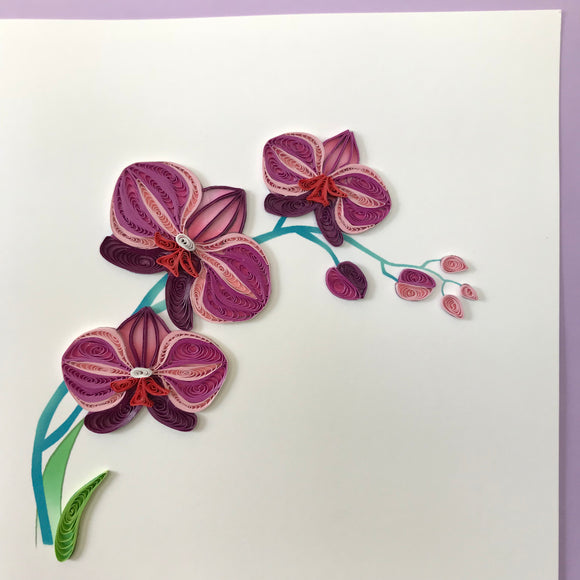 Quilled Purple Orchid Blank Card