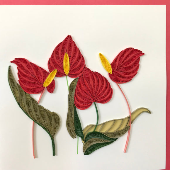 Quilled Red Flamingo Flower Blank Card