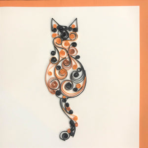 Quilled Cat Facing Away Blank Card
