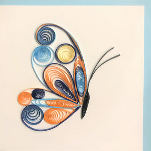 Quilled Blue and Orange Butterfly Blank Card