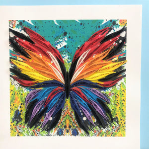 Quilled Abstract Butterfly Blank Card