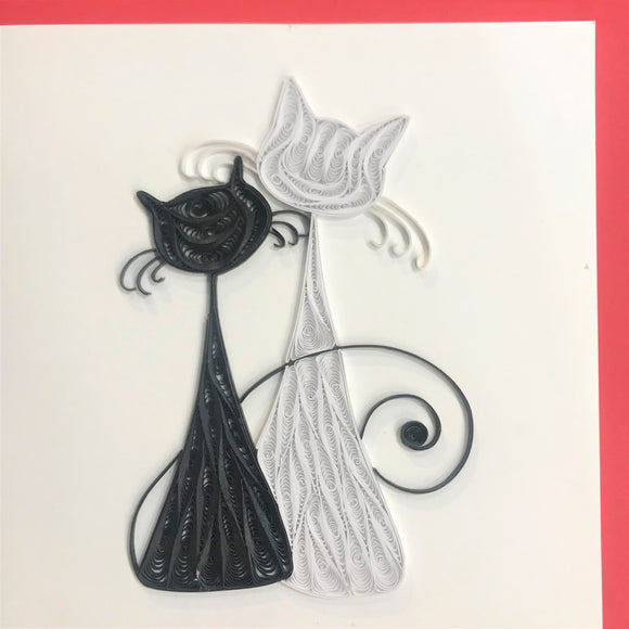 Quilled Black and White Cats Blank Card