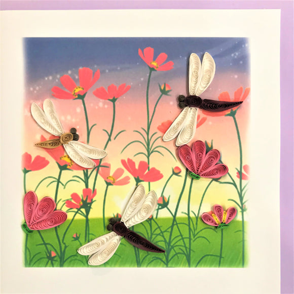 Quilled Dragonflies in Flower Garden Blank Card