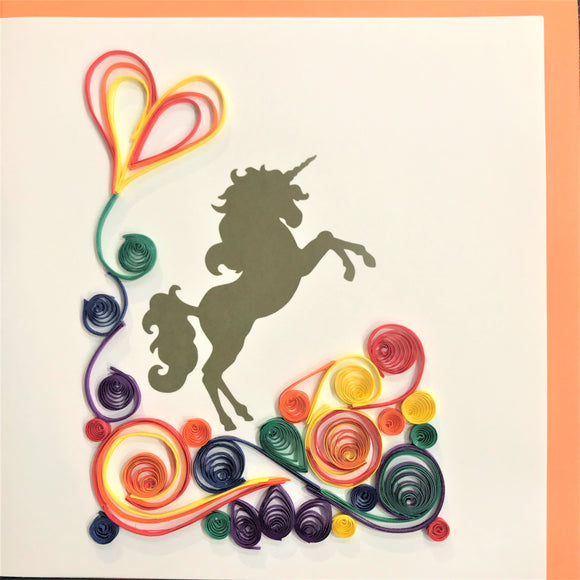 Quilled Rainbow Unicorn Blank Card
