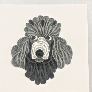 Quilled Poodle Face Blank Card