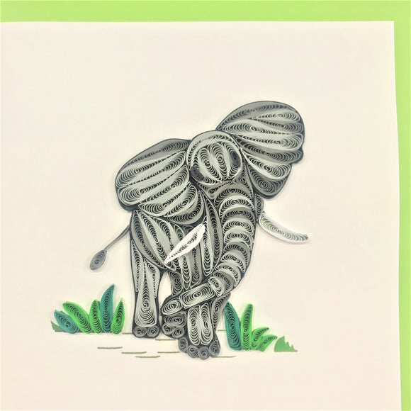 Quilled Elephant Walking Blank Card