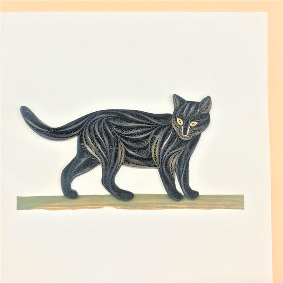 Quilled Black Cat on Branch Blank Card