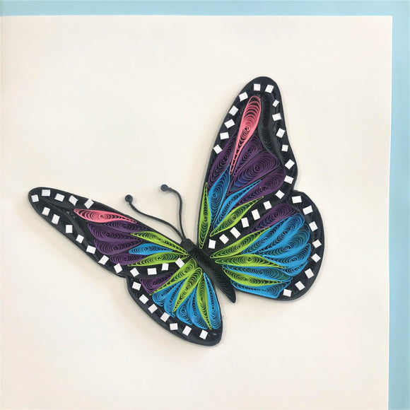 Quilled Multicolor Butterfly Blank Card