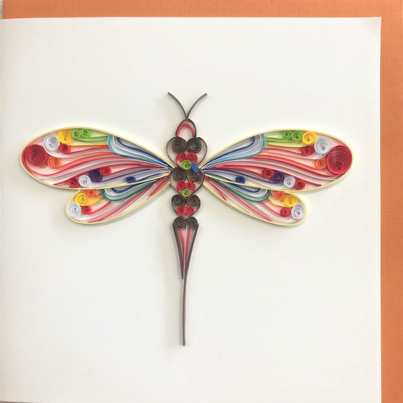 Quilled Colorful Dragonfly Blank Card