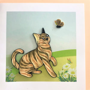 Quilled Cat with Butterfly Blank Card