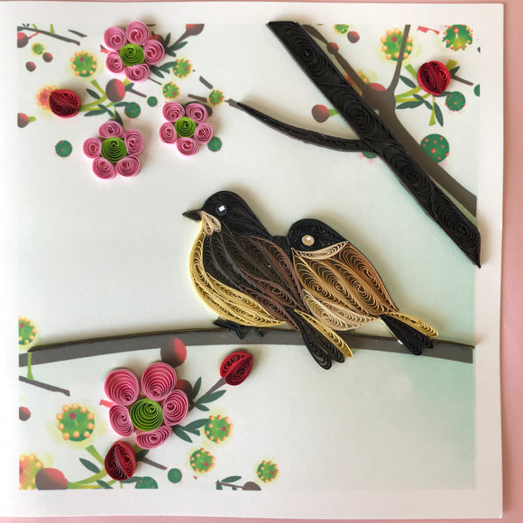Quilled Birds in Branch Blank Card
