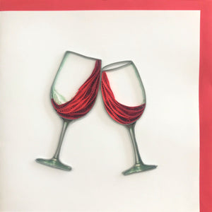 Quilled Wine Glass Cheers Blank Card