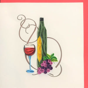 Quilled Tall Wine Bottle Blank Card