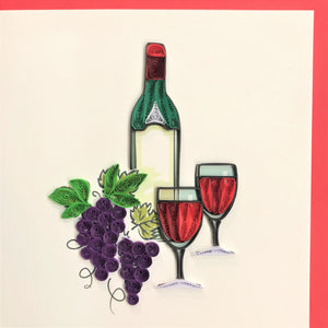 Quilled Wine Bottle, Grapes, and Wine Glasses Blank Card