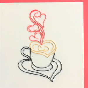 Quilled Latte and Hearts Blank Card