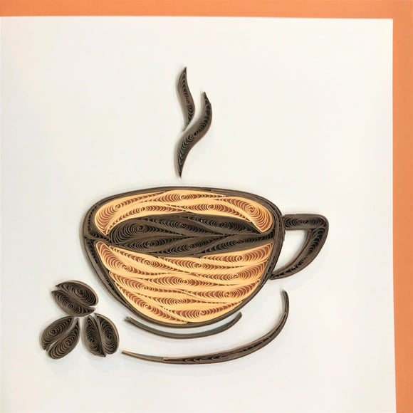 Quilled Coffee and Beans Blank Card